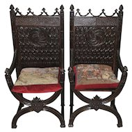Antique French Gothic Arm Chairs SPECIAL Oak with Decorative Cushion