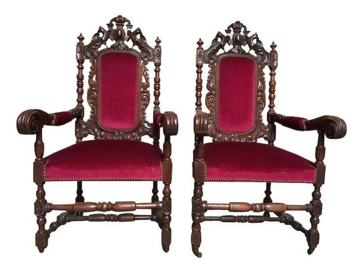 Gentil Antique French Renaissance Hunt Arm Chairs In Oak, Matching Pair
