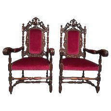 Antique French Renaissance Hunt Arm Chairs in Oak, Matching pair