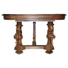 Antique Gothic Jester Whimsical Joker Walnut Console Wall Table French 19th Century
