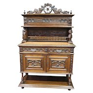 Antique French Breton Dining Room Server, Sideboard, Great Carved Model with Statues
