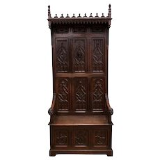 Antique French Gothic Throne Religious Altar Bishops Chair Hooded Model Oak 19th Century