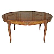 Vintage French Dining Room Table BEAUTIFUL Inlay Styling and Bronze Accents