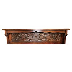 Antique French Gothic Architectural Wall Shelf, Turn of the Century