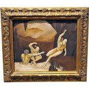 Italian Oil Painting BEAUTIFUL Framed Oil on Canvas Vintage Art Wonderful Gold Frame