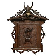 Antique French Black Forest Wall Cabinet SPECIAL Hunting Outdoor Cabin Design RARE Model