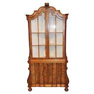 Italian Baroque China Display Corner Cabinet Walnut Burl Woods
