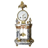 Attractive Antique French Portico Mantel Clock, Brass & Marble, Late 19th Century