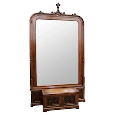 Large Antique French Gothic Mirror in Walnut 19th Century