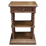 French Antique Barley Twist Hunt Marble Top Server Occasional Table SPECIAL Narrow Model