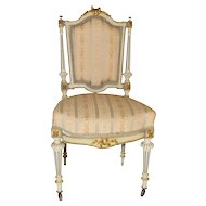 Vingtage Petite French Louis XVI Painted Side Chair Circa 1930