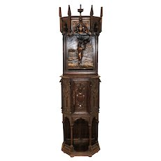 Antique French Gothic Cabinet, Medieval Design Influence Man with Bird Narrow and Tall