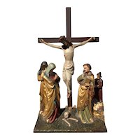 WONDERFUL Antique Religious French Statuary of Christ on Calvary Large & Stunning