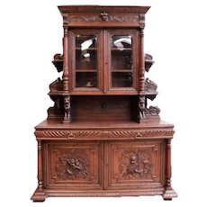 Large Antique French Hunt Cabinet, Oak, 19th Century