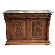 Superb Henri II Antique Server or Console with Marble Top, Walnut