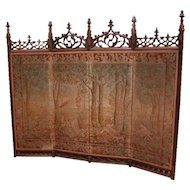 RARE Antique French Gothic Folding Screen BEAUTIFUL Needlepoint Tapestry Walnut 19th Century