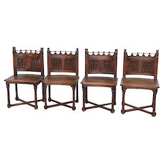 Antique French Gothic Side Chairs Set of 4 in Wonderful Quality Walnut 19th Century