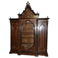 Monumental Italian Renaissance Bookcase, Walnut, Inlays, 1920's