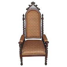 Antique French Gothic Arm Chair Special Barley Twist Pierced Carved Crown