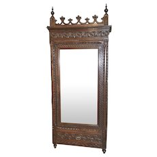 Antique French Gothic Armoire Full Dressing Mirror Narrow Model in Oak 19th Century