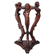RARE Antique French Pedestal with Carved Centaur, Cherubs in Walnut circa 1900