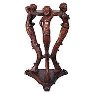 RARE Antique French Pedestal with Carved Centaur, Cherubs in Walnut circa 1900