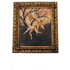 """Oil Painting """"Two Men Fighting""""  Displayed in Nice Gold Frame"""