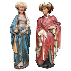 Vintage Whimsical Statues Fairy Tale Story Design Prince and Princess Flemish From Belgium