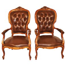French Provincial Pair of Leather Arm Chairs, Tufted Back, Walnut