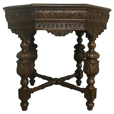Antique French Tudor Occasional Table, Oak, 1920's