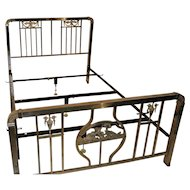 Antique Art Nouveau Metal Bed, 19th Century
