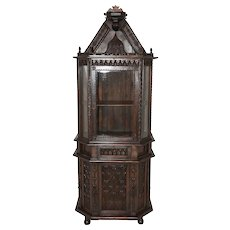 Extraordinary Antique French Gothic Display Cabinet, Walnut, Late 19th Century