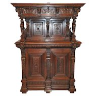 Interesting French Renaissance Cabinet with Carved Figures and Faces, Oak, 19th Century