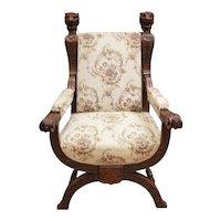 Antique French Renaissance Figural Arm Chair, Walnut, 19th Century