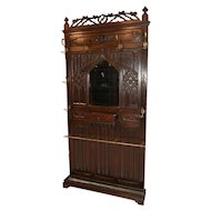 Striking Antique French Gothic Hall Rack or Coat Rack. Walnut, 19th Century