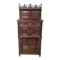 Antique French Gothic Server,  Buffet or Sideboard, Smaller Scale, Oak
