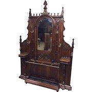 Antique French Gothic Hall Rack Large Impressive RARE Model
