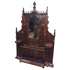 Antique French Gothic Hall Rack Large Impressive RARE Model