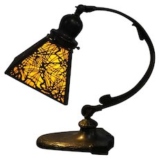 Handel Pine Needle Desk Lamp Arts and Crafts Beautiful Brown Glass