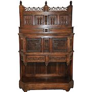 Antique French Gothic Cabinet, Intricate Carvings, Circa 1850
