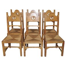 Vintage French Gothic Dining Chairs, Set of 6 Solid Oak, Rush Seats Country Feel