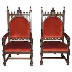 BEAUTIFUL Antique French Gothic Arm Chairs The BEST Quality Walnut 19th Century