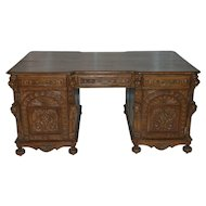 French Renaissance Partners Desk LARGE Wonderful Carved Model in Oak