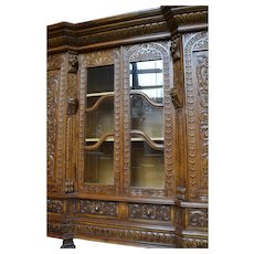 French Renaissance Office Library Bookcase Carved Display Cabinet