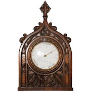 Antique French Gothic Barometer Walnut Circa 1890