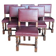 French Tudor Dining Chairs Solid Oak Circa 1920s