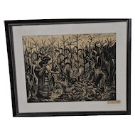 "Arturo Garcia Bustos Original Lithograph 1956 "" People of the Corn"""