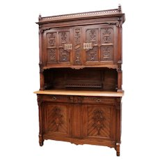 Antique French Gothic Cabinet in Walnut Unique and Special Carved Design 19th Century