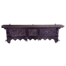 Antique French Gothic Wall Hanging Coat Rack in Oak 19th Century