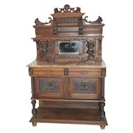 Striking French Antique Buffet or Server, Jester or Joker Carvings, circa 1900